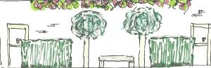 Tuinontwerp: Zijaanzicht terrasaankleding
