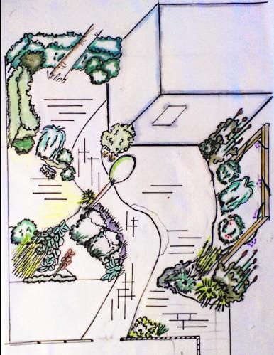 Tuinontwerp met wilgenborders